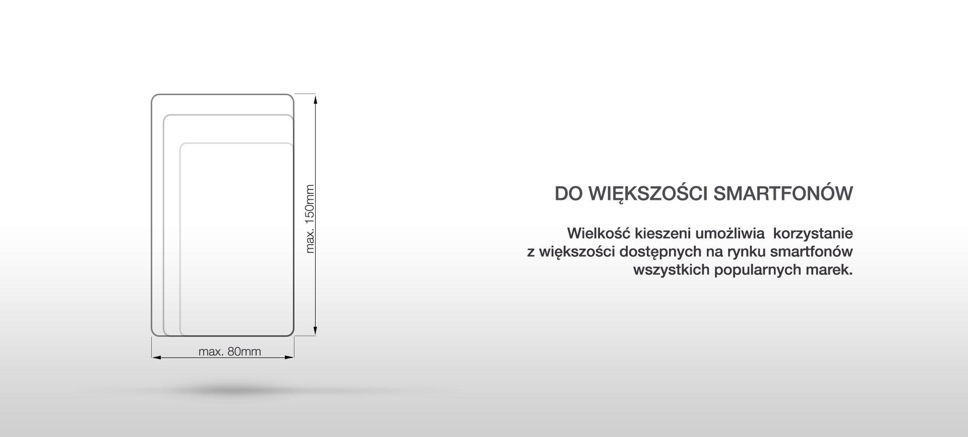 DO WIĘKSZOŚCI SMARTFONÓW. Większość kieszeni umożliwia korzystanie z większości dostępnych na rynku smartfonów wszystkich popularnych marek.