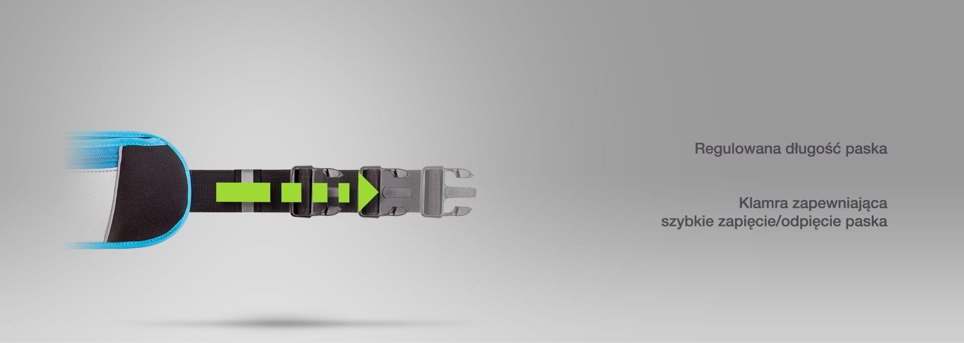 Posiada regulowaną długość paska i klamrę zapewniającą szybkie zapięcie/odpięcie paska.