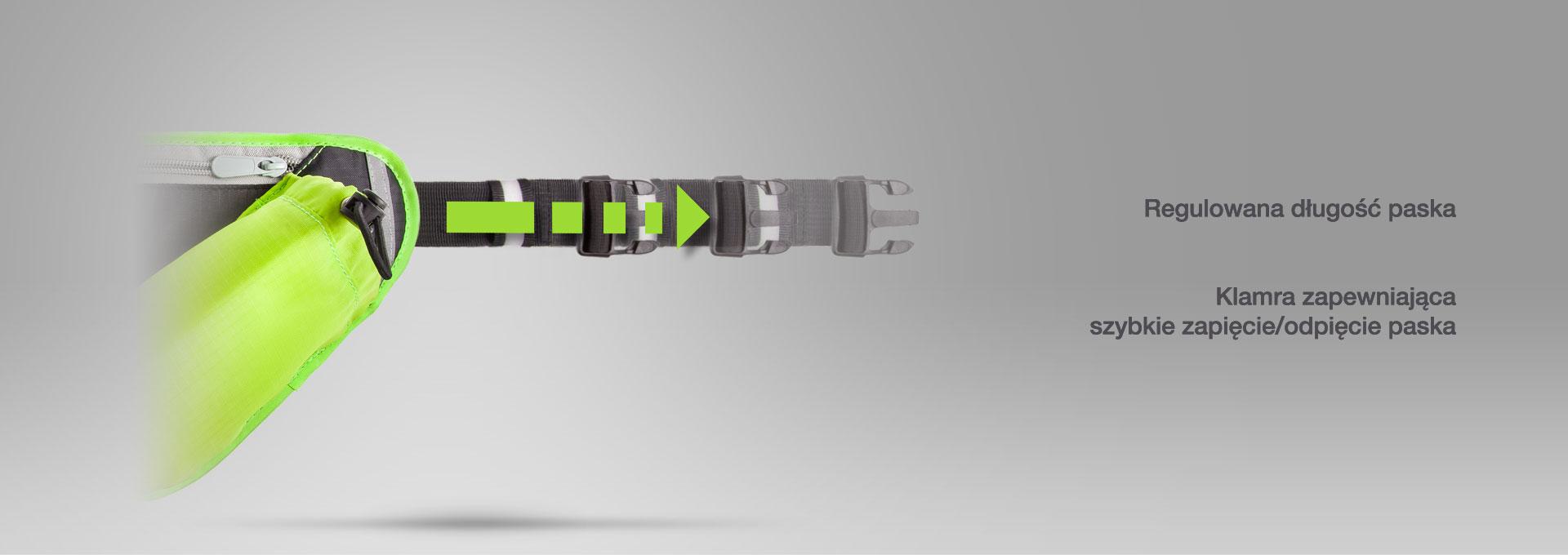 Posiada regulowaną długość paska, oraz klamrę zapewniającą szybkie zapięcie/odpięcie paska.