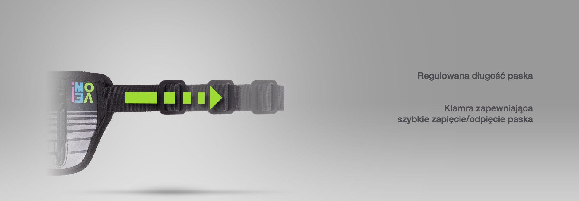 Regulowana długość paska. Klamra zapewniająca szybkie zapięcie/odpięcie paska.