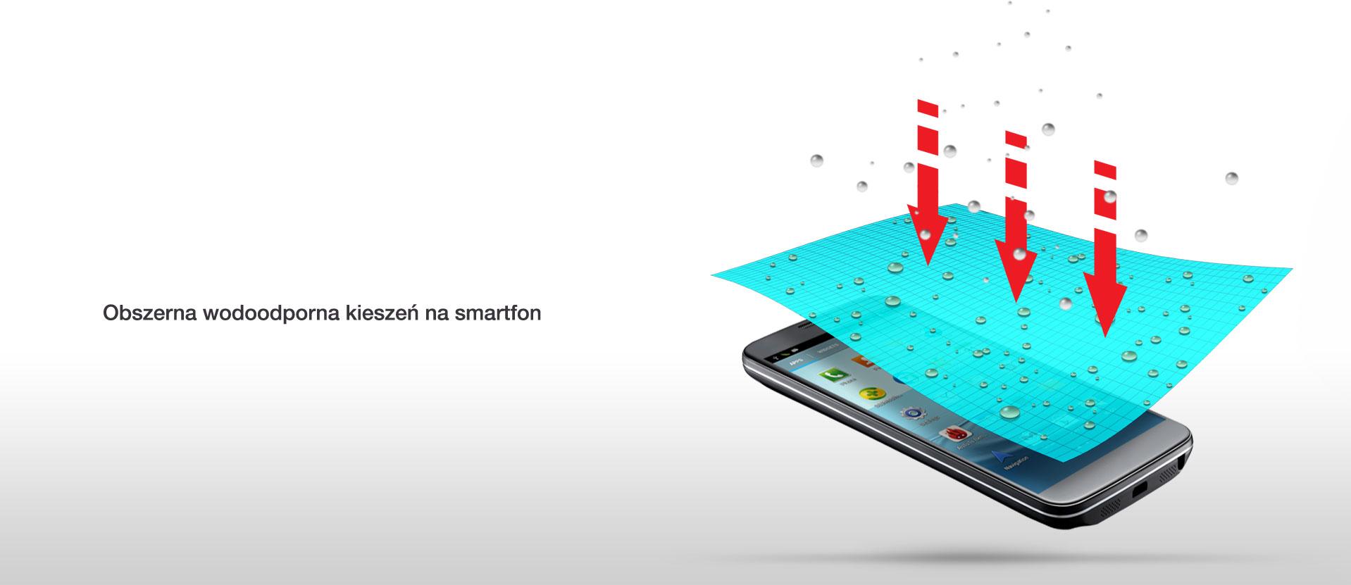 Obszerna wodoodporna kieszeń na smartfon.
