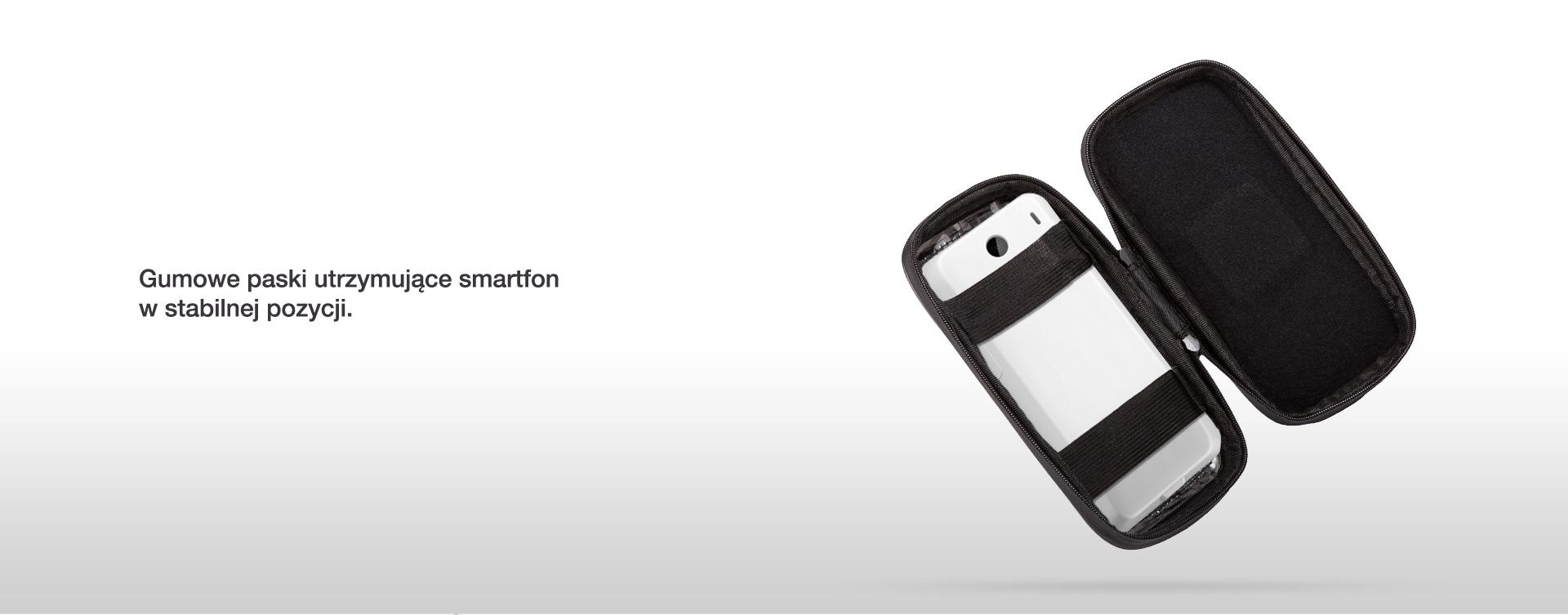Gumowe paski utrzymujące smartfon w stabilnej pozycji.