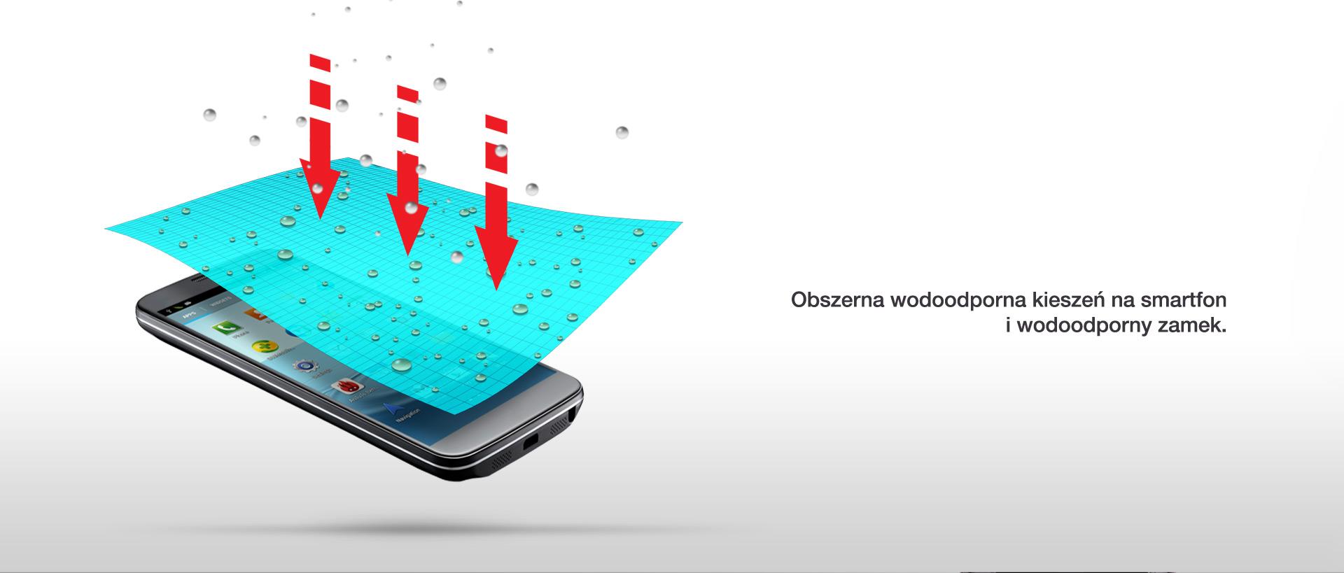 Obszerna wodoodporna kieszeń na smartfon i wodoodporny zamek.