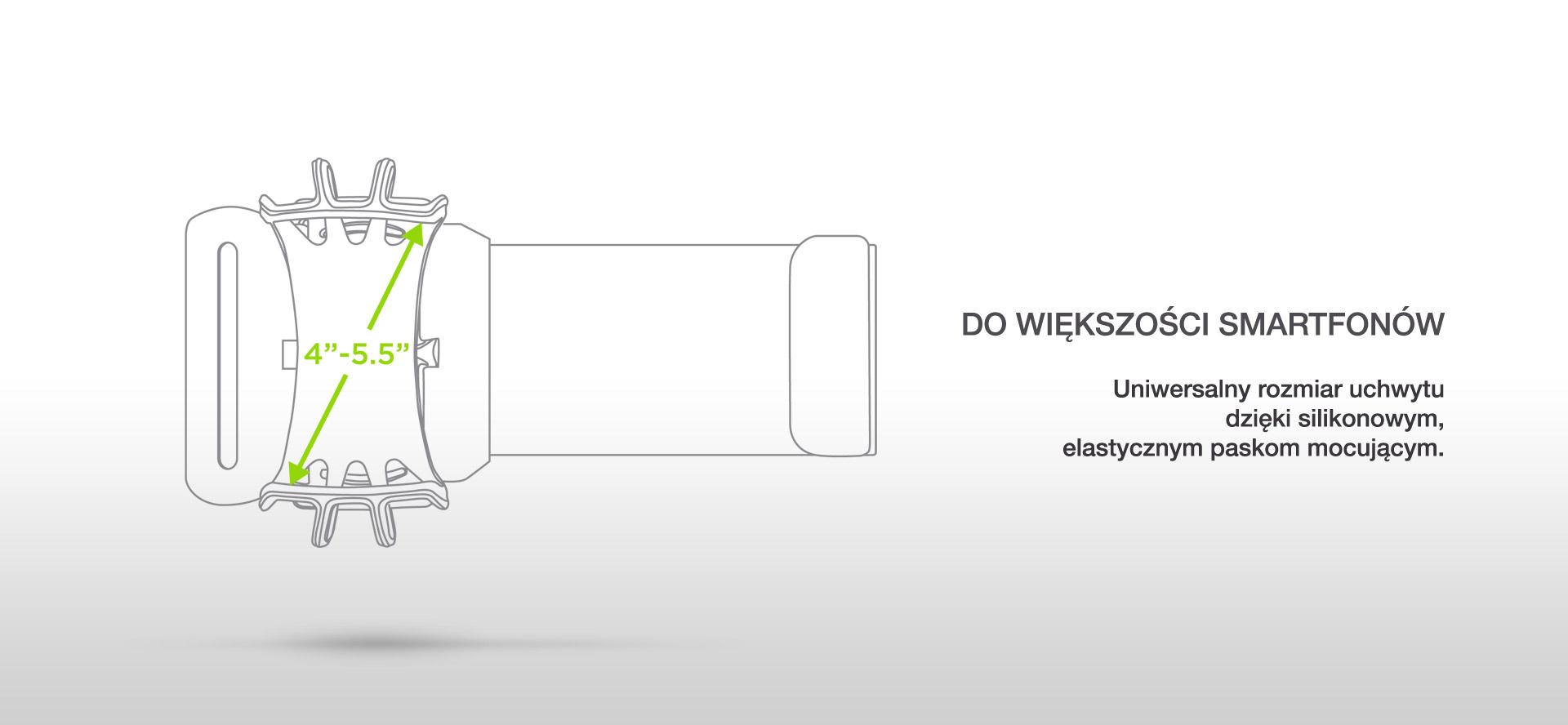 DO WIĘKSZOŚCI SMARTFONÓW. Uniwersalny rozmiar uchwytu dzięki silikonowym, elastycznym paskom mocującym.